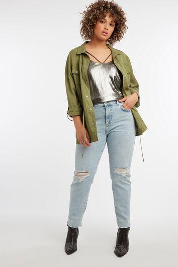 Slim leg jeans IRIS met slijtagedetails