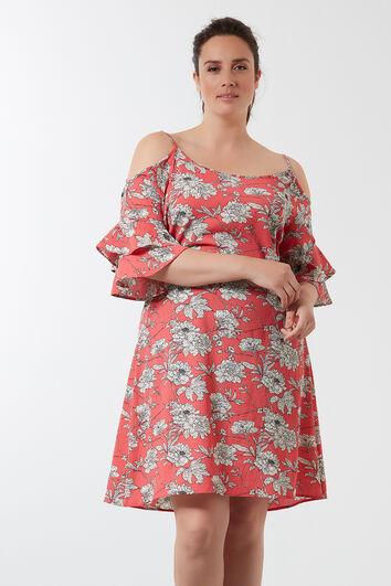 Cold-shoulder jurk met all-over print