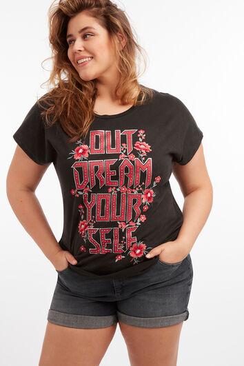 T-shirt met tekstprint en strass