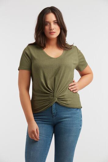 T-shirt met knoopdetail