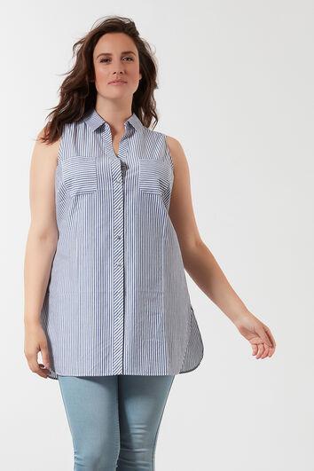Lange mouwloze blouse met streepprint