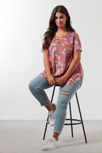 Shirt met all-over print en kruisbandjes