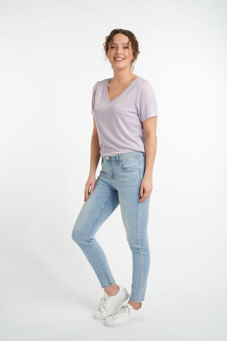 Jeans met glitterstreep