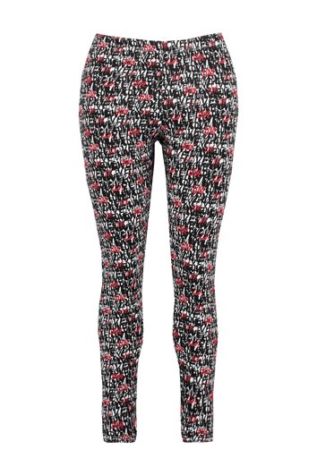 Legging met all-over print en ritsjes