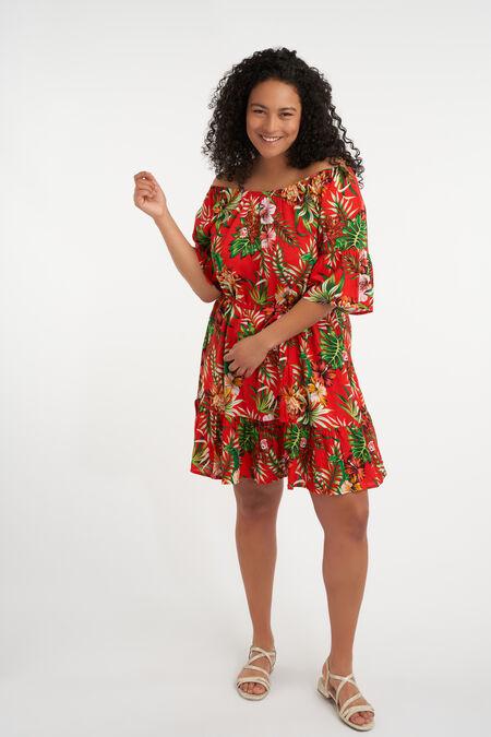 Off shoulder jurk met print