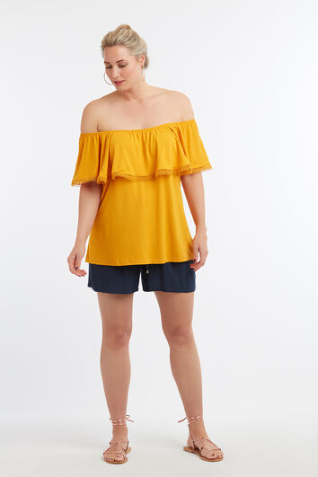 Off-shoulder top met volant