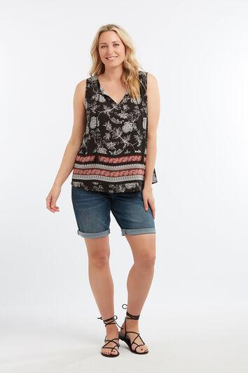 Mouwloze blouse met paisleyprint