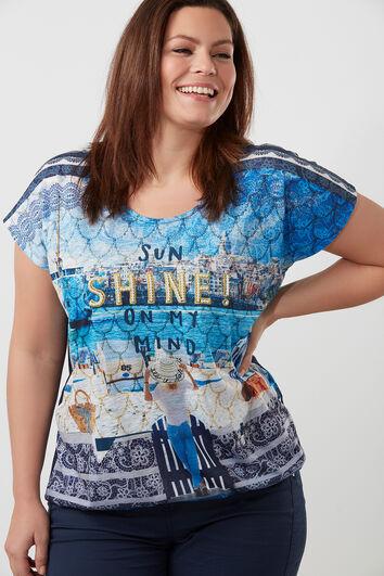 T-shirt met imitatieparels en print