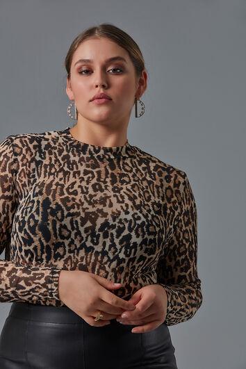 Top met all-over luipaardprint