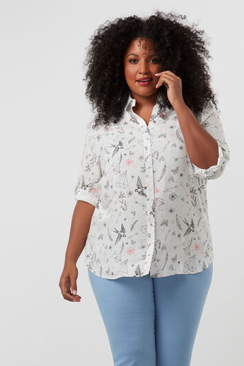 Blouse met all-over print