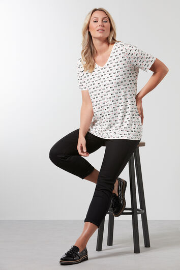 T-shirt met V-hals en all-over print