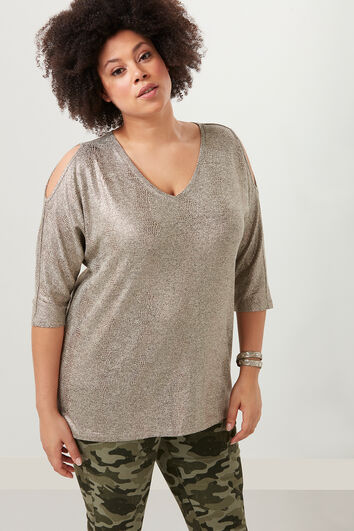 Top cold-shoulder met glans