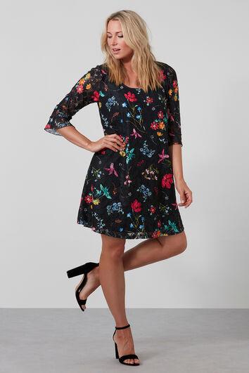 Kanten jurk met bloemenprint