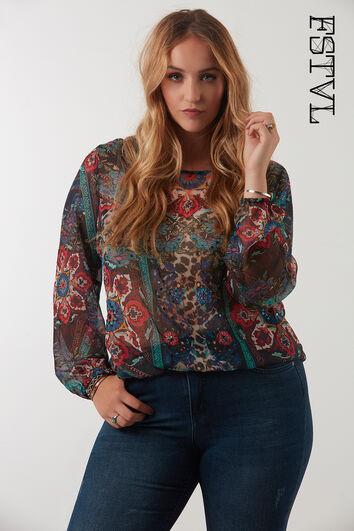 FSTVL blouse met print en pailletten