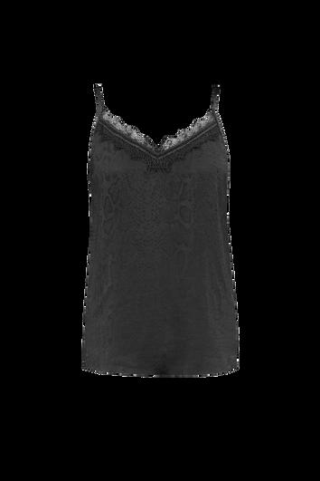 Mouwloze blouse met subtiele slangenprint