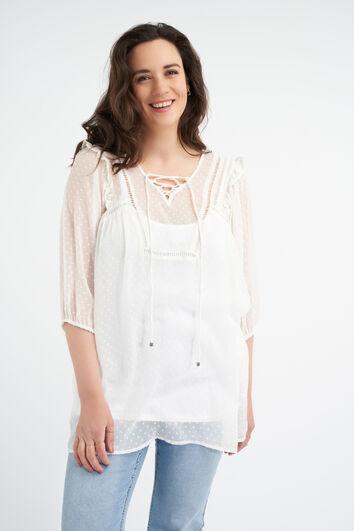 Transparante blouse met kanten detail