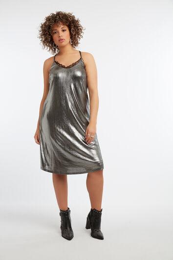 Mouwloze metallic jurk