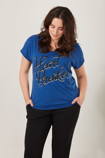 T-shirt met lurex en tekstprint