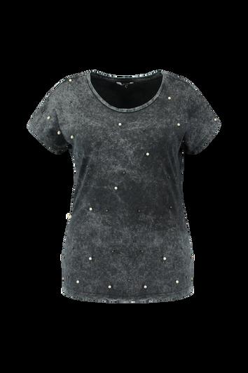 T-shirt met acid-wash en imitatieparels