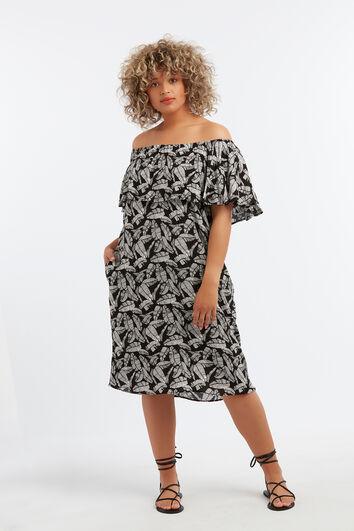 Off-shoulder jurk met ruffle