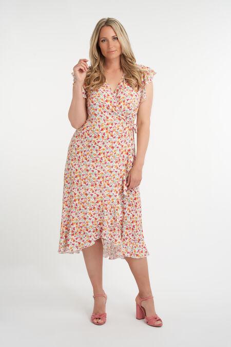 Overslag jurk met print