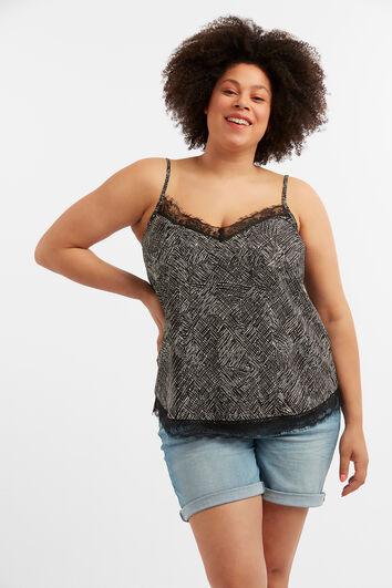 Mouwloze blouse met kanten detail