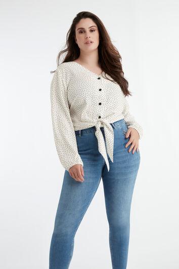 Stippen blouse met knoop detail
