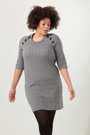 Geruite jurk met rijgdetail
