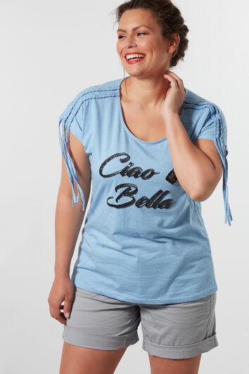 T-shirt met vlechtdetail