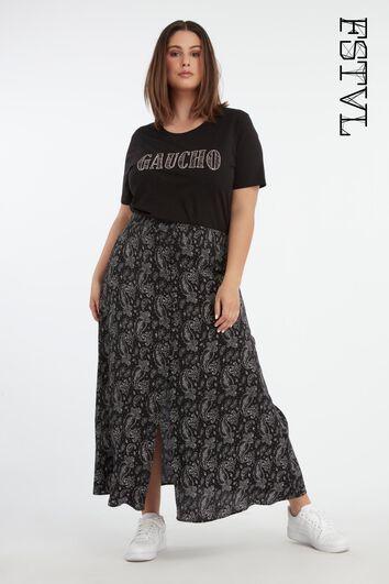 Doorgeknoopte rok met paisleyprint