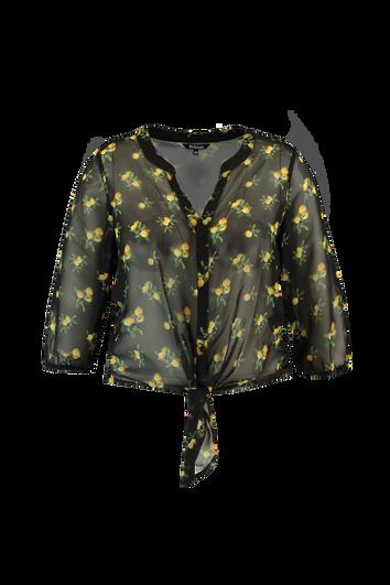 Transparante blouse met citroenprint