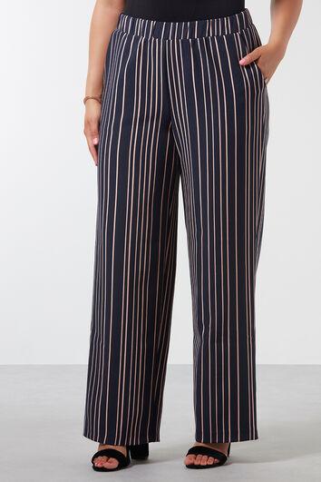 Wijdvallende broek met streepprint