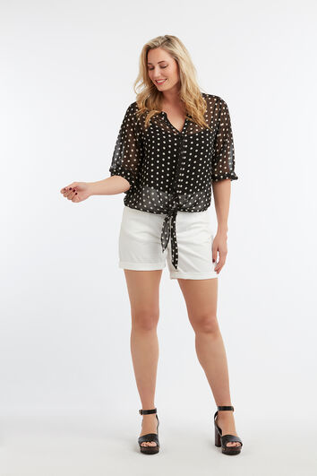 Transparante blouse met stippenprint