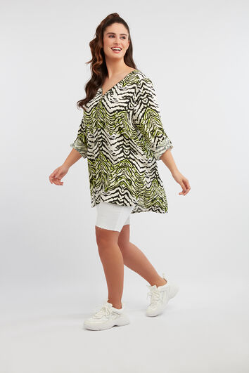 Lange blouse met zebraprint