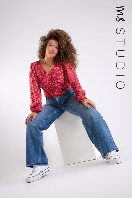 High waist jeans met wijde pijpen