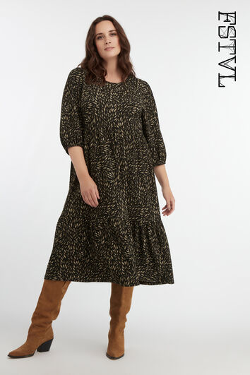 Lange wijde jurk met print