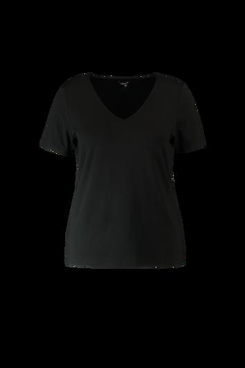 T-shirt met V-hals en korte mouwen