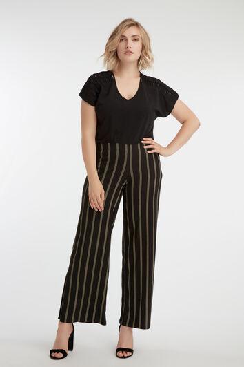 Wijdvallende broek met strepen