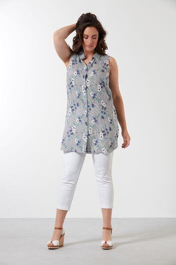 Lange mouwloze blouse met bloemprint