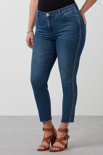 Slim leg jeans met lurex detailrand