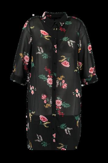 Transparante blouse met print