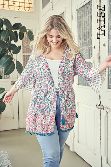 Kimono met kleurrijke print