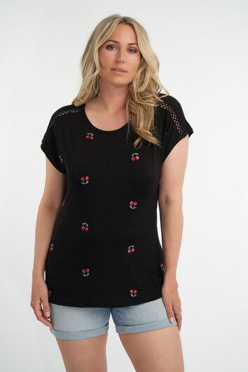 T-shirt met geborduurde print