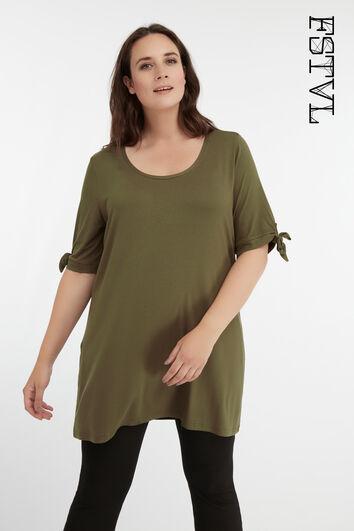 Lang T-shirt met strik detail