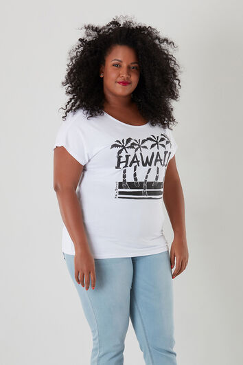 T-shirt met print en glitters