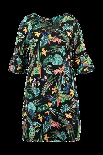 Uitlopende jurk met print en volant