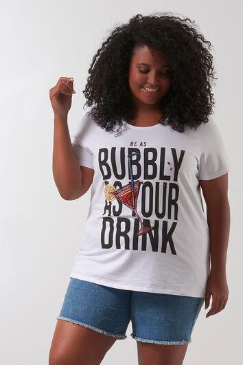 T-shirt met printopdruk en kraaltjes