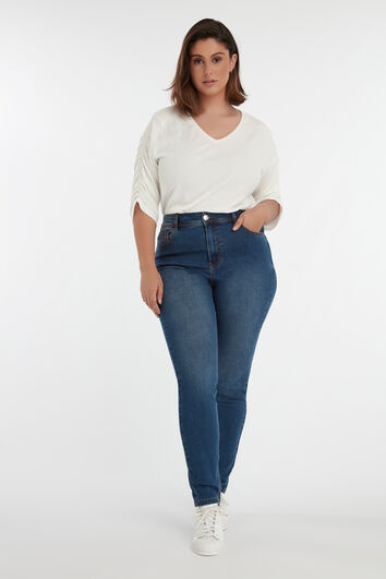 Skinny leg high waist jeans CHERRY