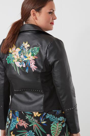 Imitatieleren jasje met tropische print
