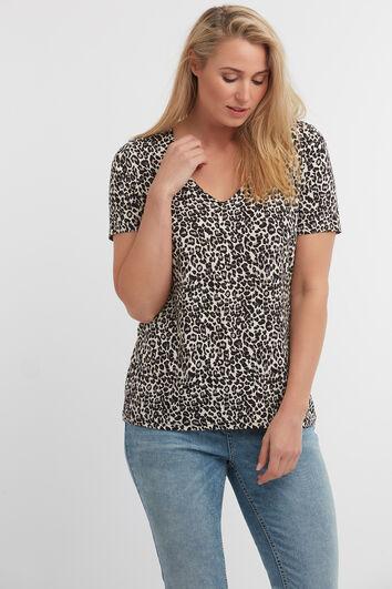 T-shirt met V-hals en luipaardprint